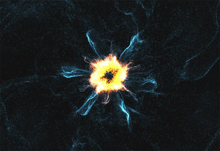 html5+three.js宇宙科幻粒子爆炸动画特效