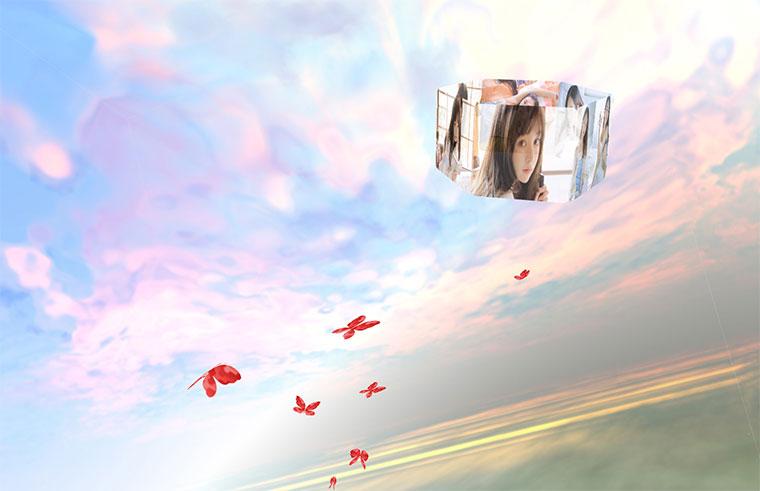 html5 svg制作3D相册天空飞舞浪漫表白动画特效