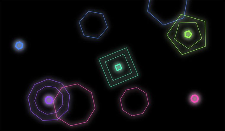 css3几何多边形变大旋转发光动画特效