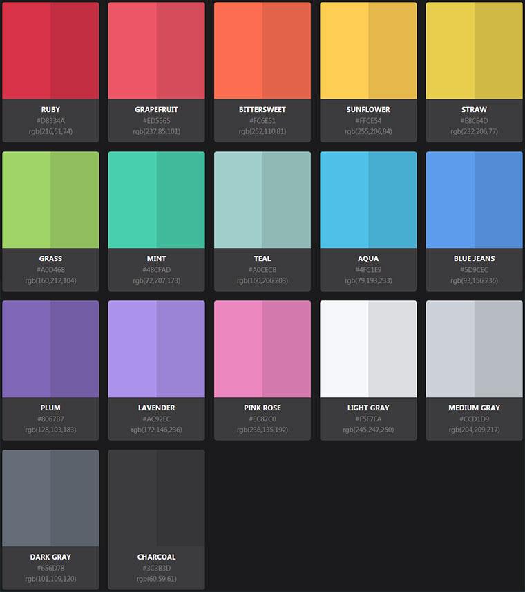 17种css3渐变调色板配色选择代码