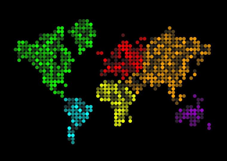 css3创意点像素世界地图动画特效