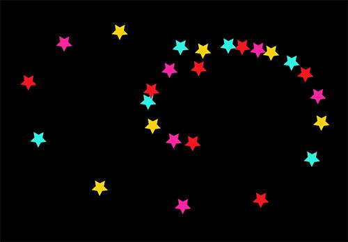 html5 svg+TweenMax彩色五角星跟随鼠标移动特效