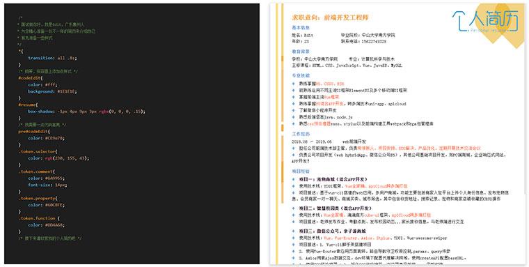 酷炫打字效果程序员个人简历js代码