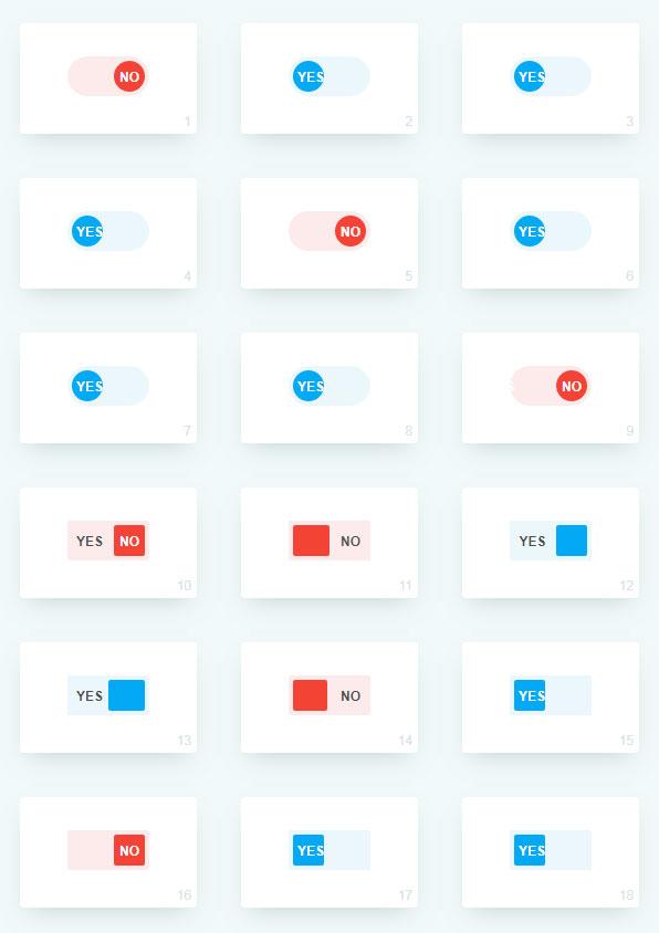 多种纯css3开关按钮切换动画效果