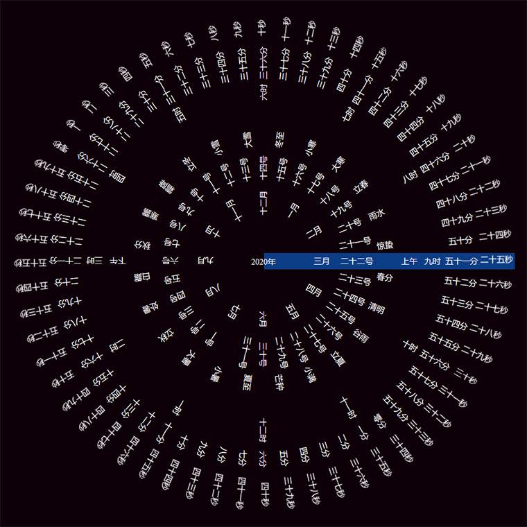jQuery+vue带实时节气创意圆形罗盘时钟动画特效
