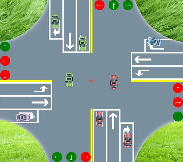 html5模拟交通指挥系统交通信号灯动画特效