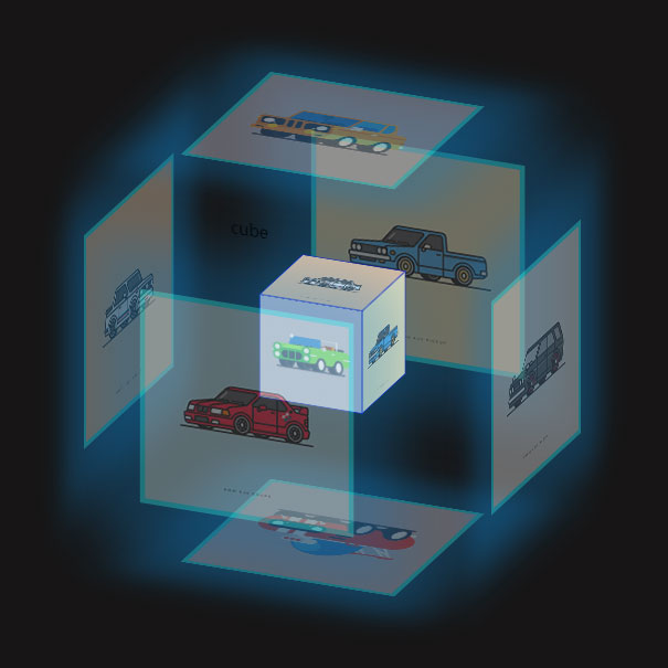js+css3图片组合立方体旋转动画特效