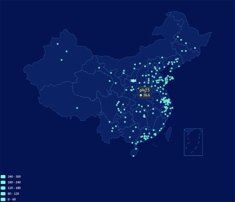 echarts中国地图区域统计代码