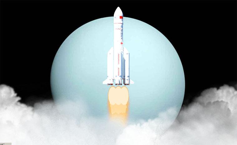 基于three.js逼真火箭发射升空动画特效