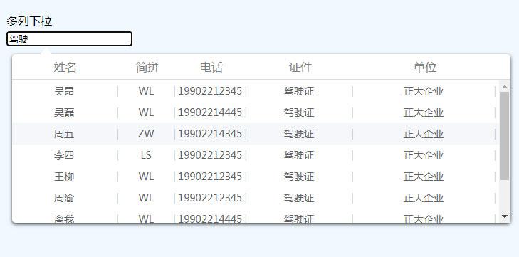 jQuery支持模糊查询的多列下拉列表框特效
