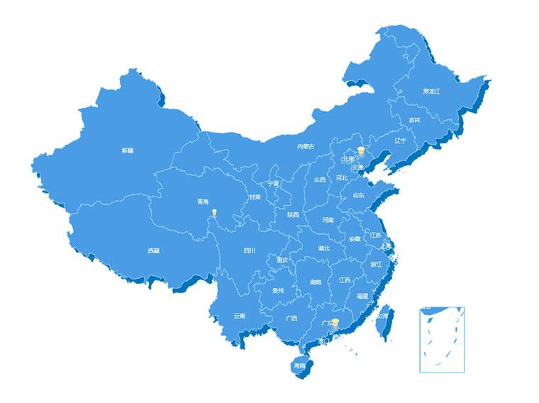 echarts中国地图和省份地图位置信息标注代码