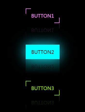 css3鼠标悬停按钮边框加倒影动画特效