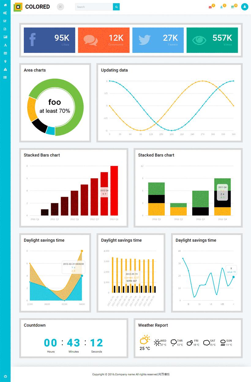 colorer国外专业做数据统计的后台模板