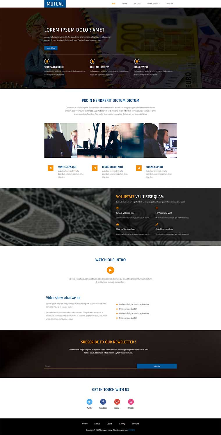 html5响应式银行金融相关企业网站模板