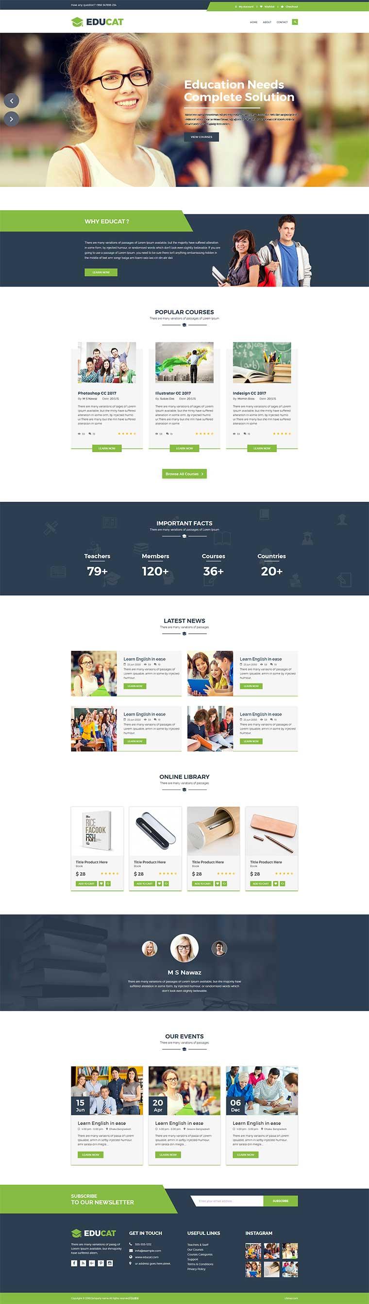 绿色宽屏html5响应式社会教育机构网站模板