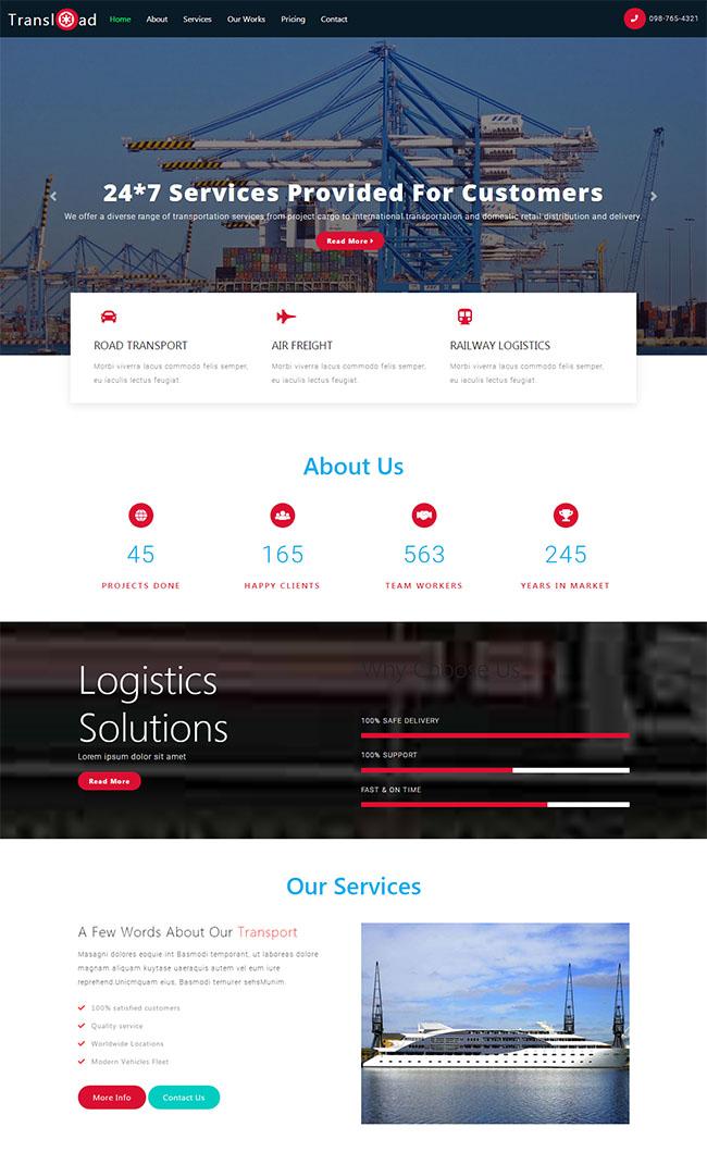 红色大气html5响应式大件物流运输公司单页模板