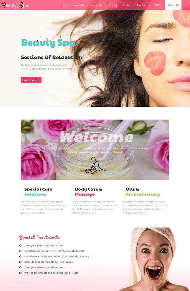 html5响应式保健按摩美容中心网站模板