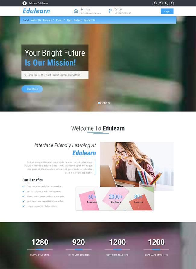 蓝色大气html5响应式学校教育网站模板
