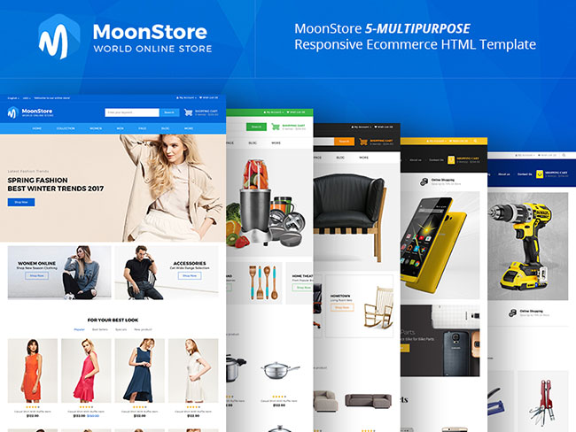 5套不同风格的html5响应式购物商城网站模板