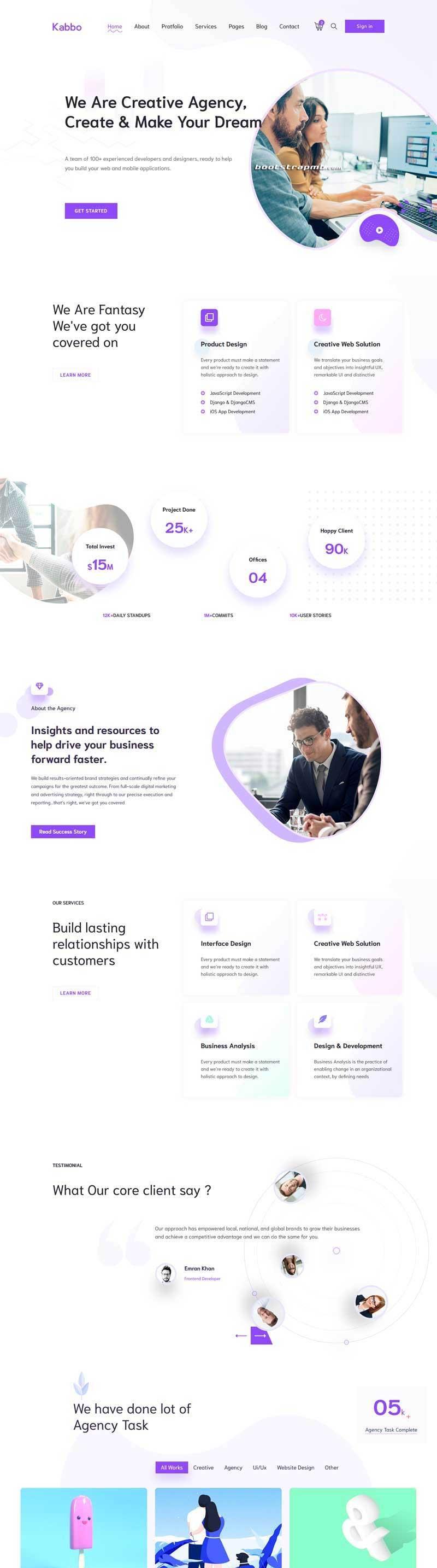 紫色精美的Bootstrap响应式创意设计公司网站模板