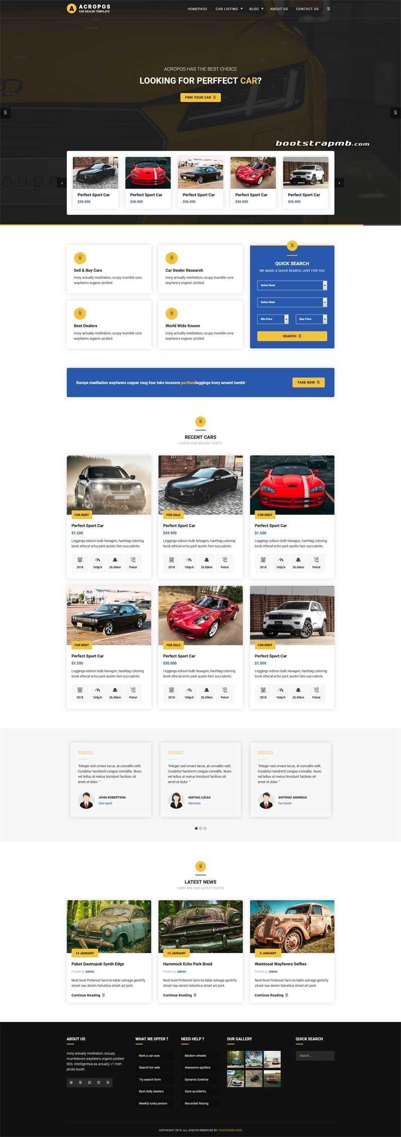 大气宽屏Bootstrap4响应式汽车经销商网站模板