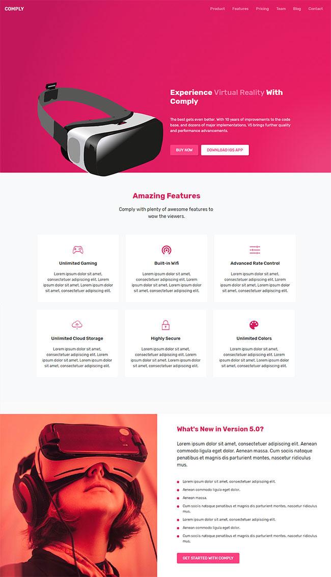 粉色大气的Bootstrap响应式VR产品公司网站模板