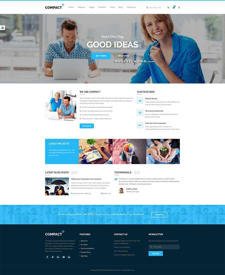 大气宽屏Bootstrap响应式商务公司通用网站模板