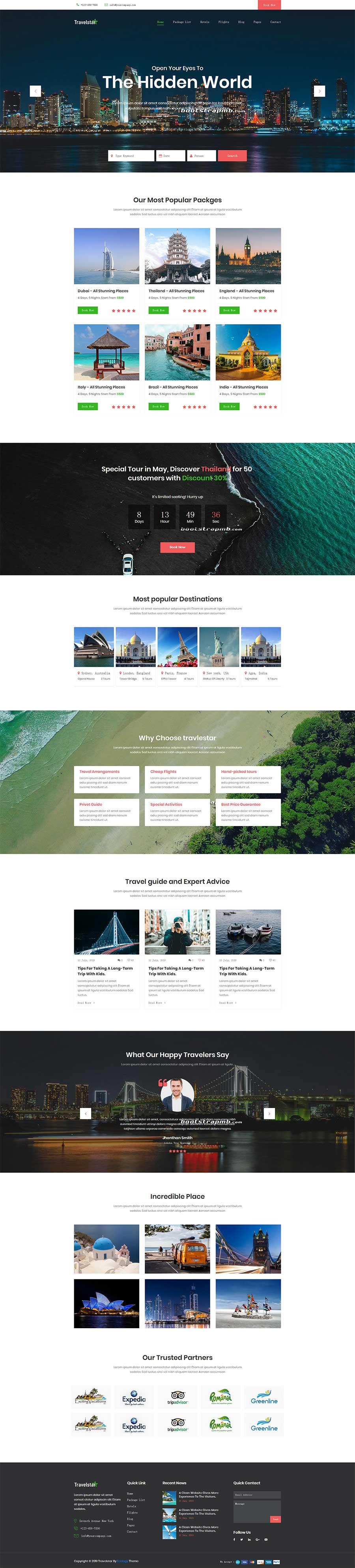 大气宽屏Bootstrap响应式旅游服务平台网站模板