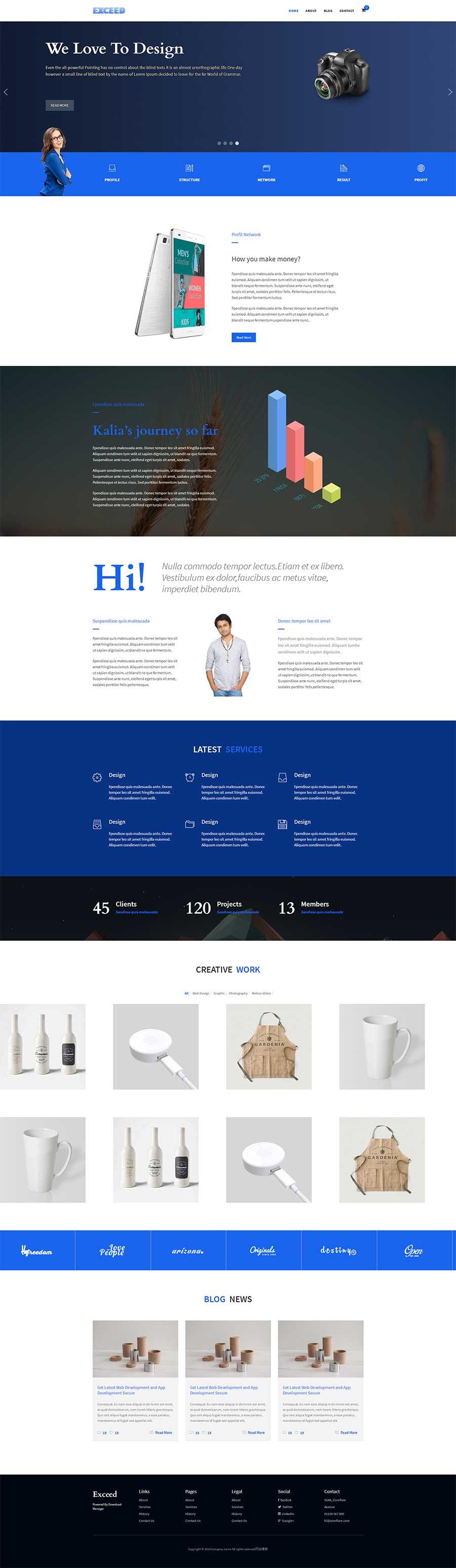 蓝色大气html5响应式UI设计公司网站模板