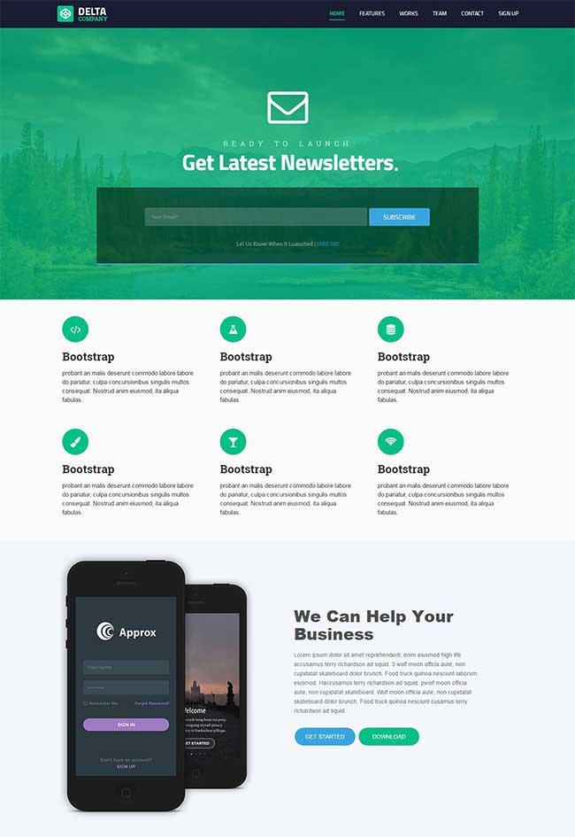 绿色宽屏大气html5响应式插画UI设计团队网站模板