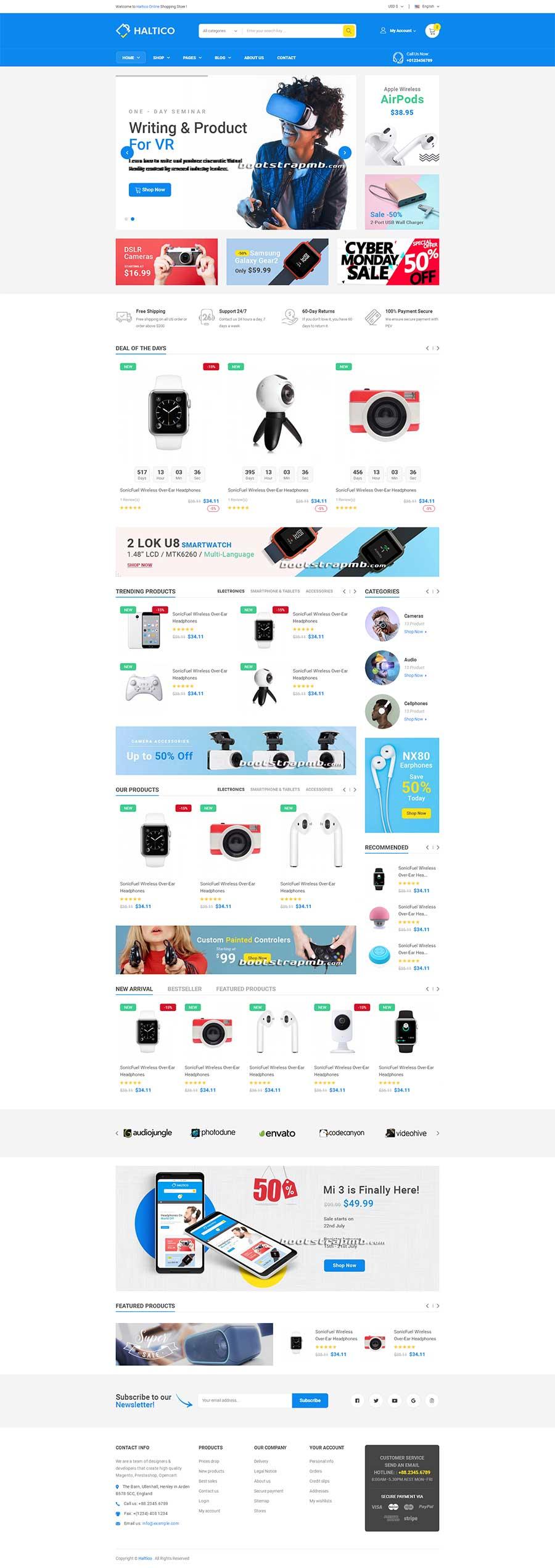 蓝色精美的Bootstrap4响应式电子数码商城网站模板