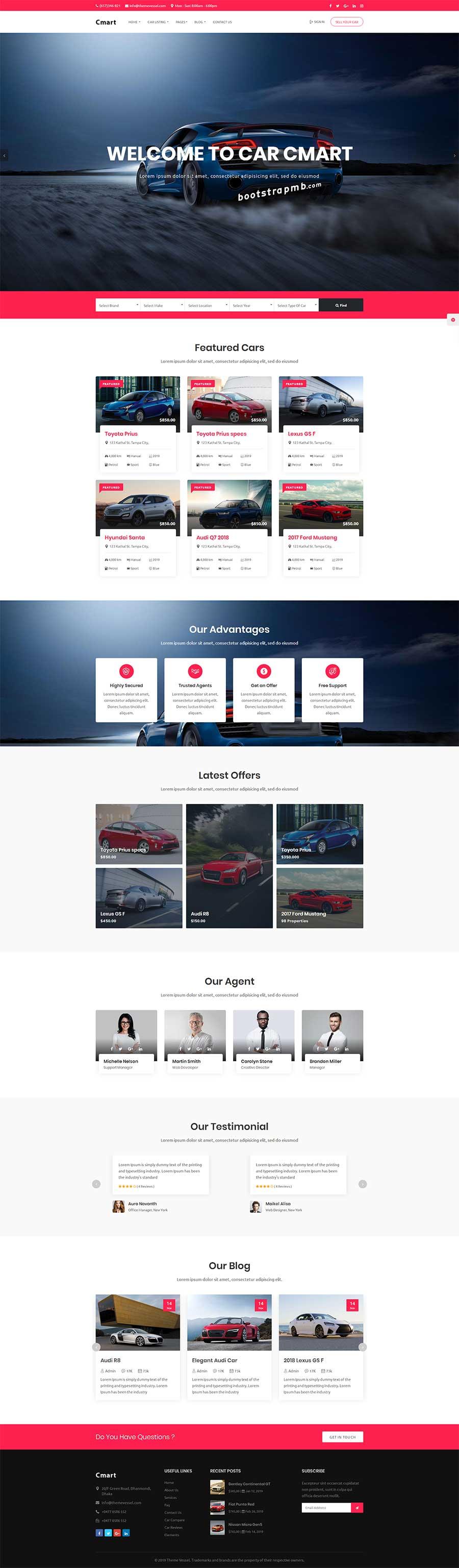 大气宽屏Bootstrap响应式汽车租赁平台网站模板