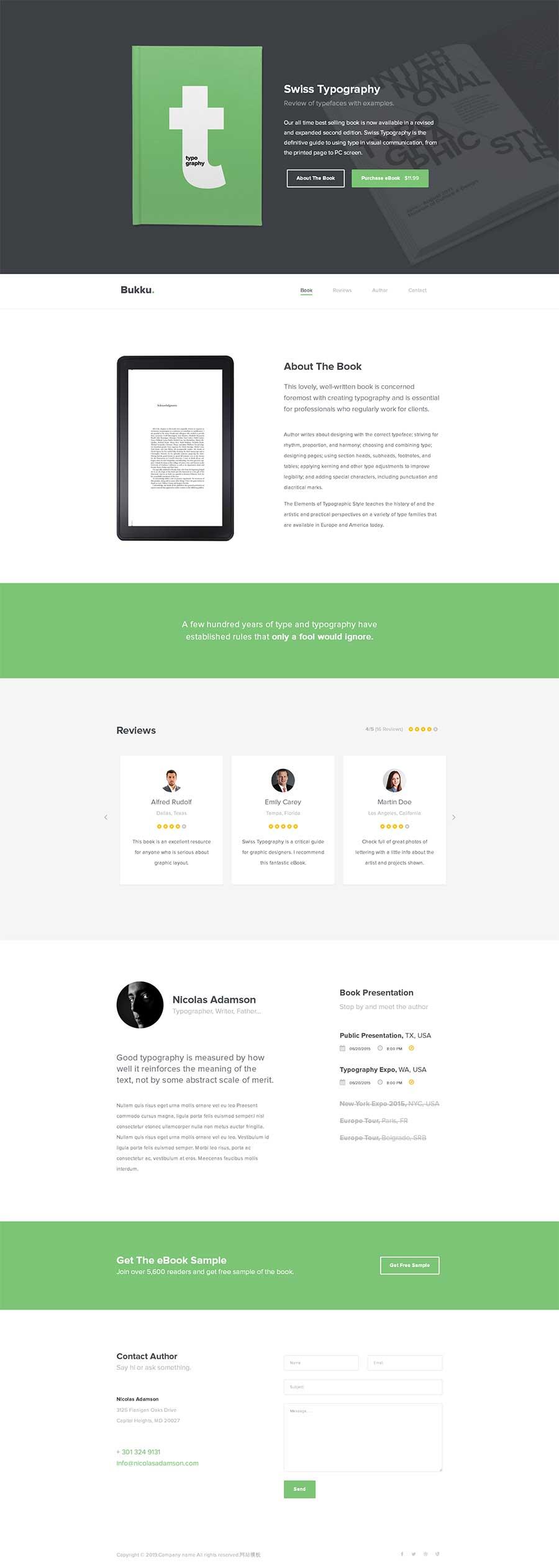 綠色寬屏html5響應式電子書宣傳單頁模板