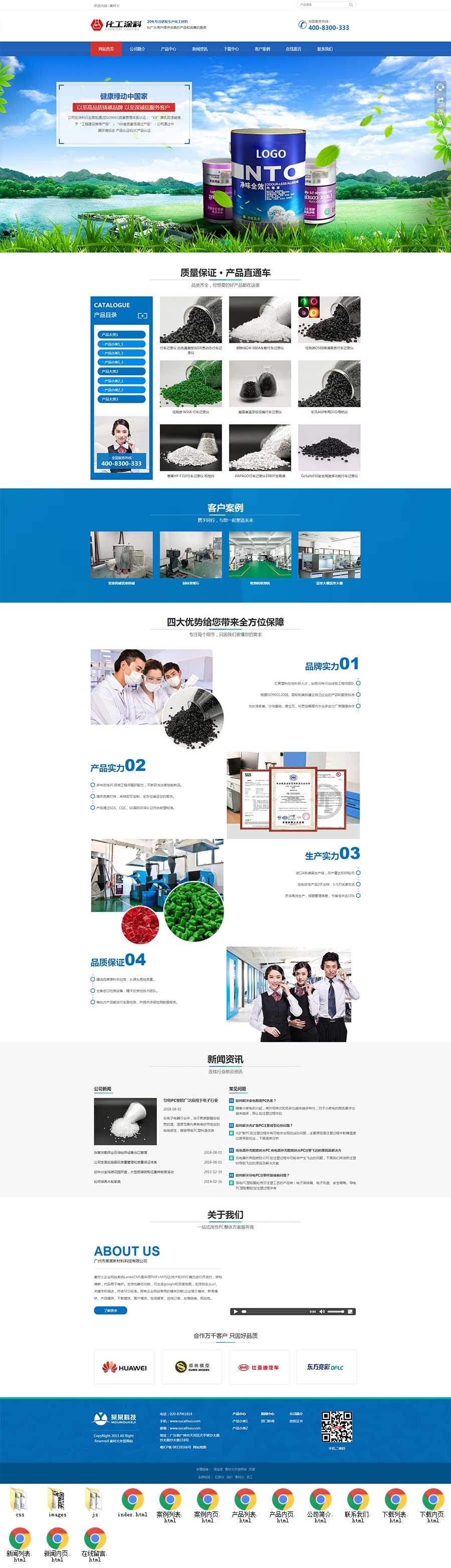 蓝色大气html5响应式化工涂料公司网站模板