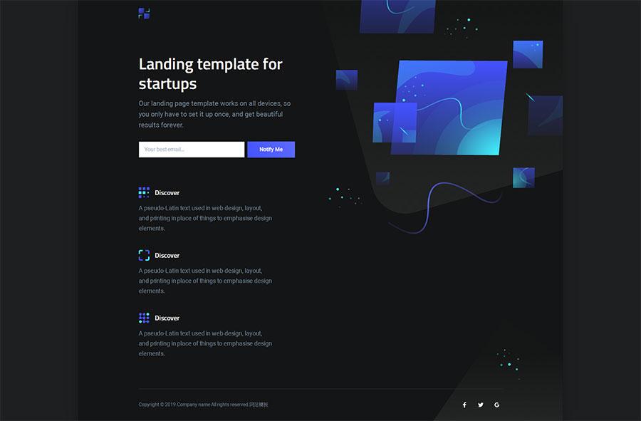 黑色大气html5响应式企业网站引导页模板