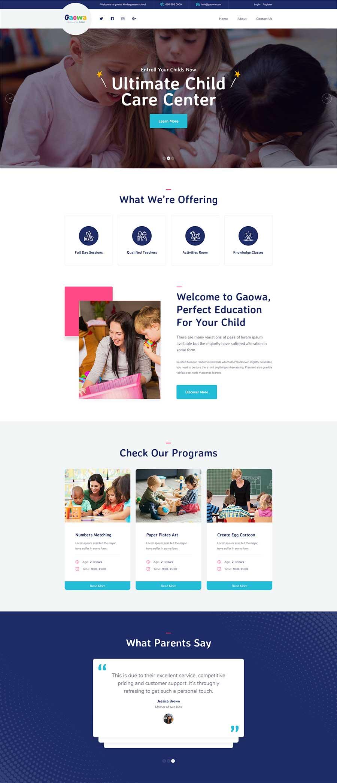 大气宽屏Bootstrap响应式幼儿园教育机构网站模板