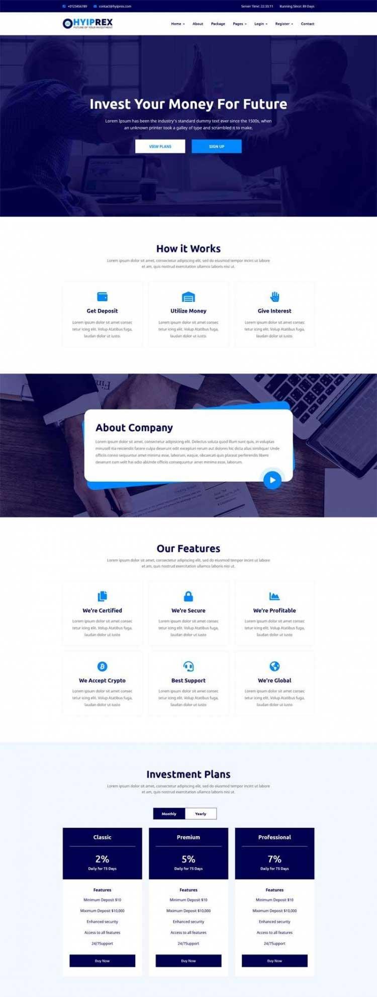 蓝色大气Bootstrap响应式金融投资理财企业网站模板
