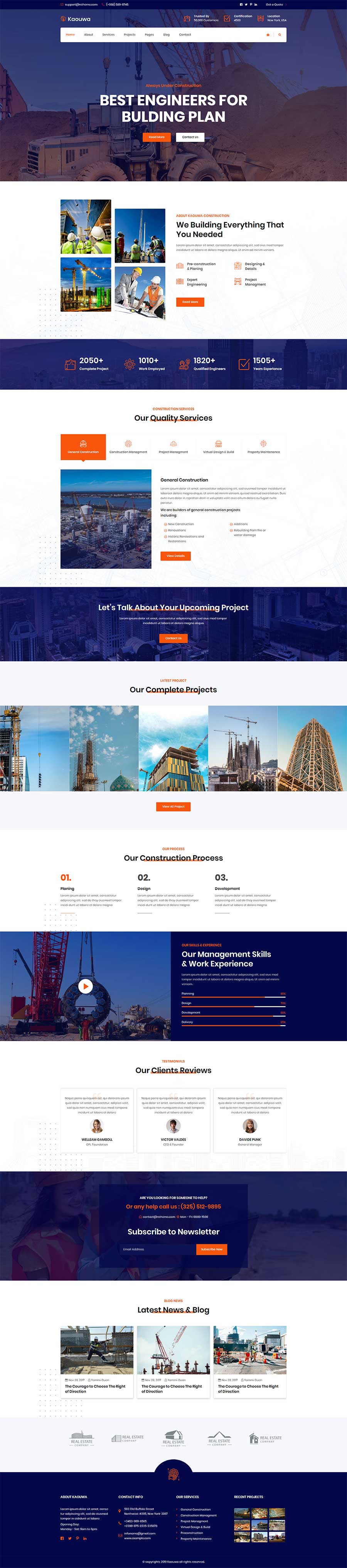 橙色宽屏大气的Bootstrap房地产建筑公司官网模板