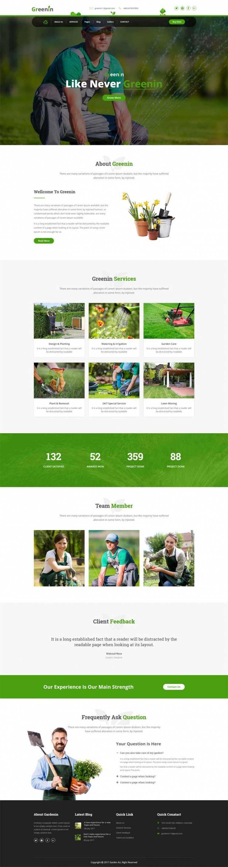 绿色大气Bootstrap响应式园艺园林绿化公司网站模板