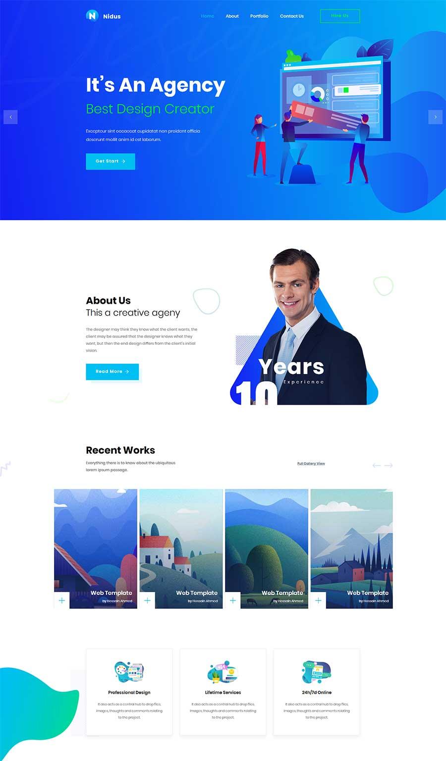 蓝色大气精美Bootstrap响应式创意设计企业官网模板
