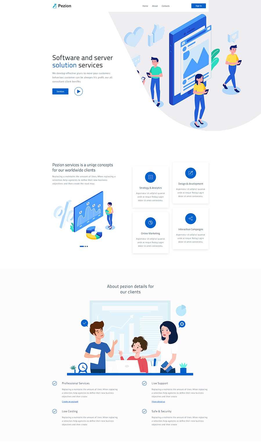 html5响应式软件营销代理公司网站模板