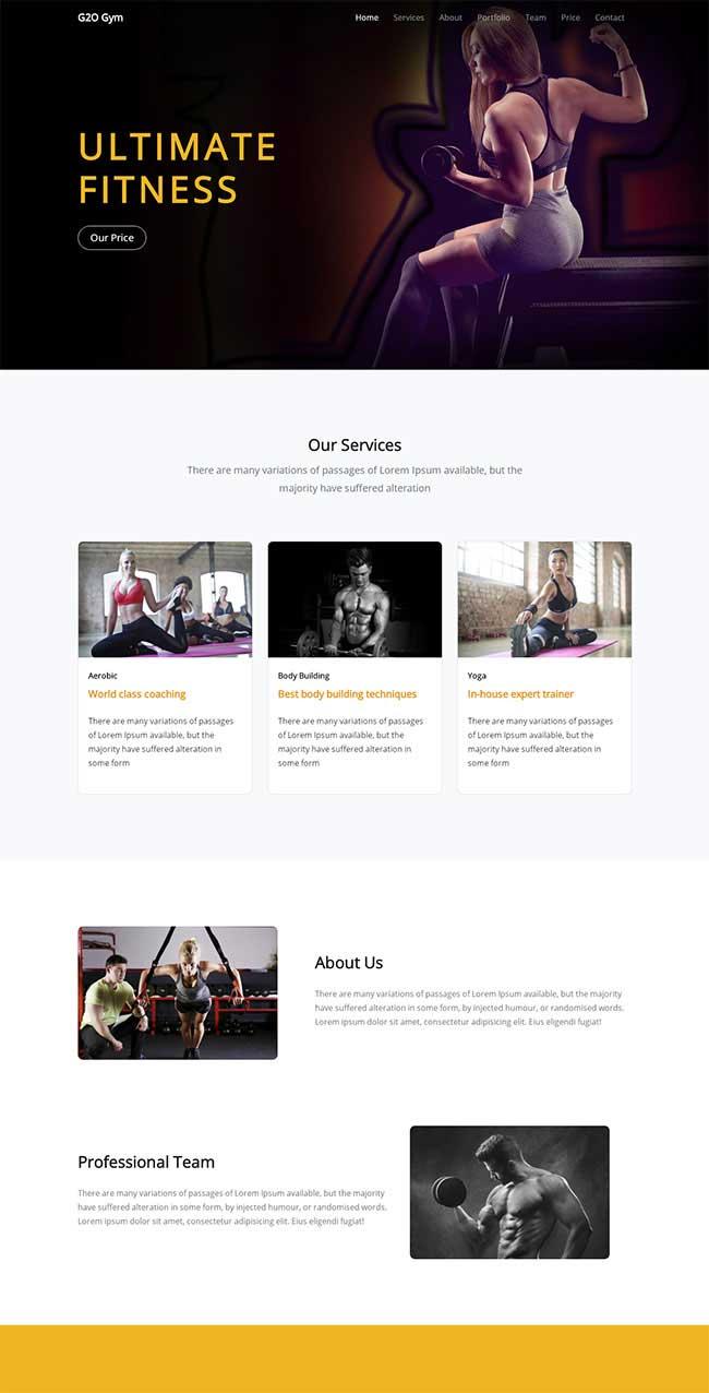 宽屏大气html5响应式健身教练团队展示网站模板