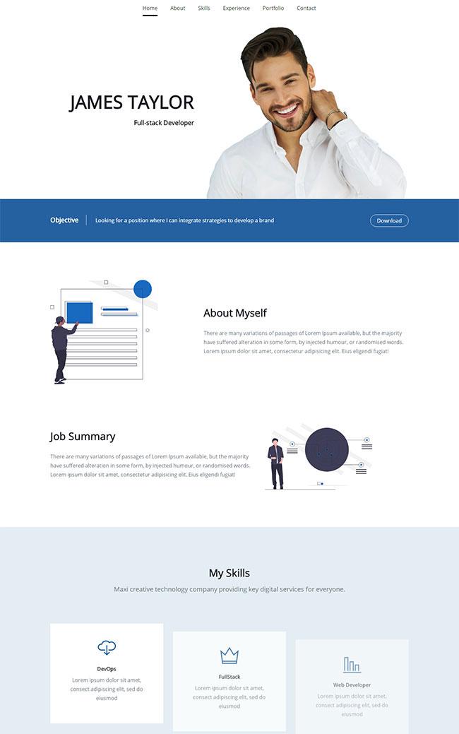蓝色简洁响应式软件开发公司单页模板