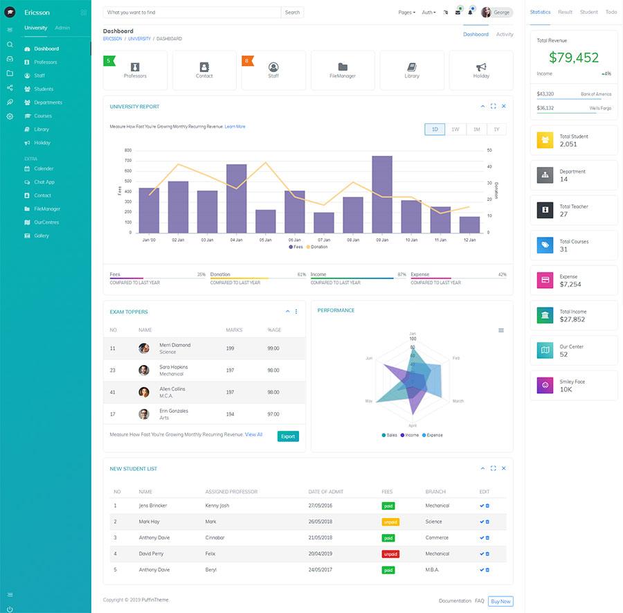 Bootstrap响应式大学教育课程管理系统后台模板