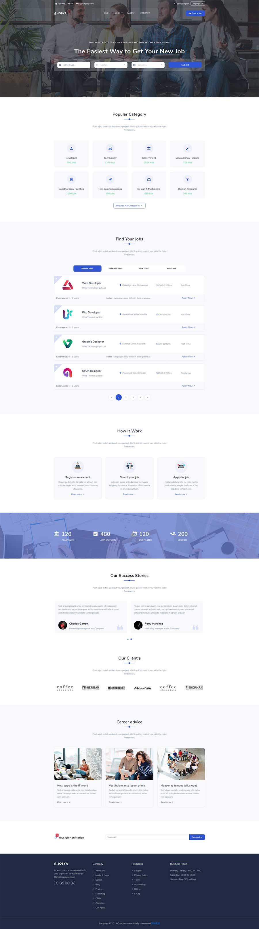 蓝色风格html5响应式工作招聘平台网站模板