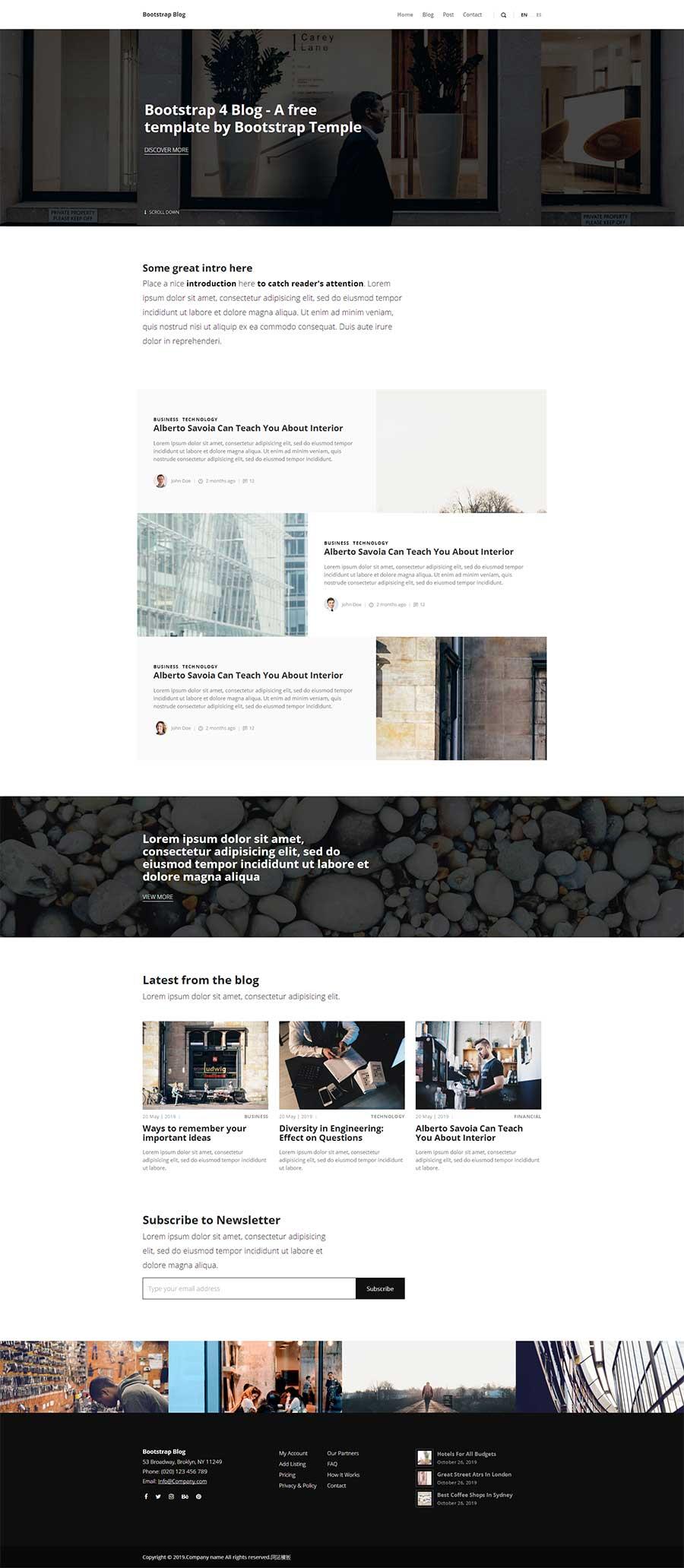 黑白极简风格Bootstrap个人图文博客模板