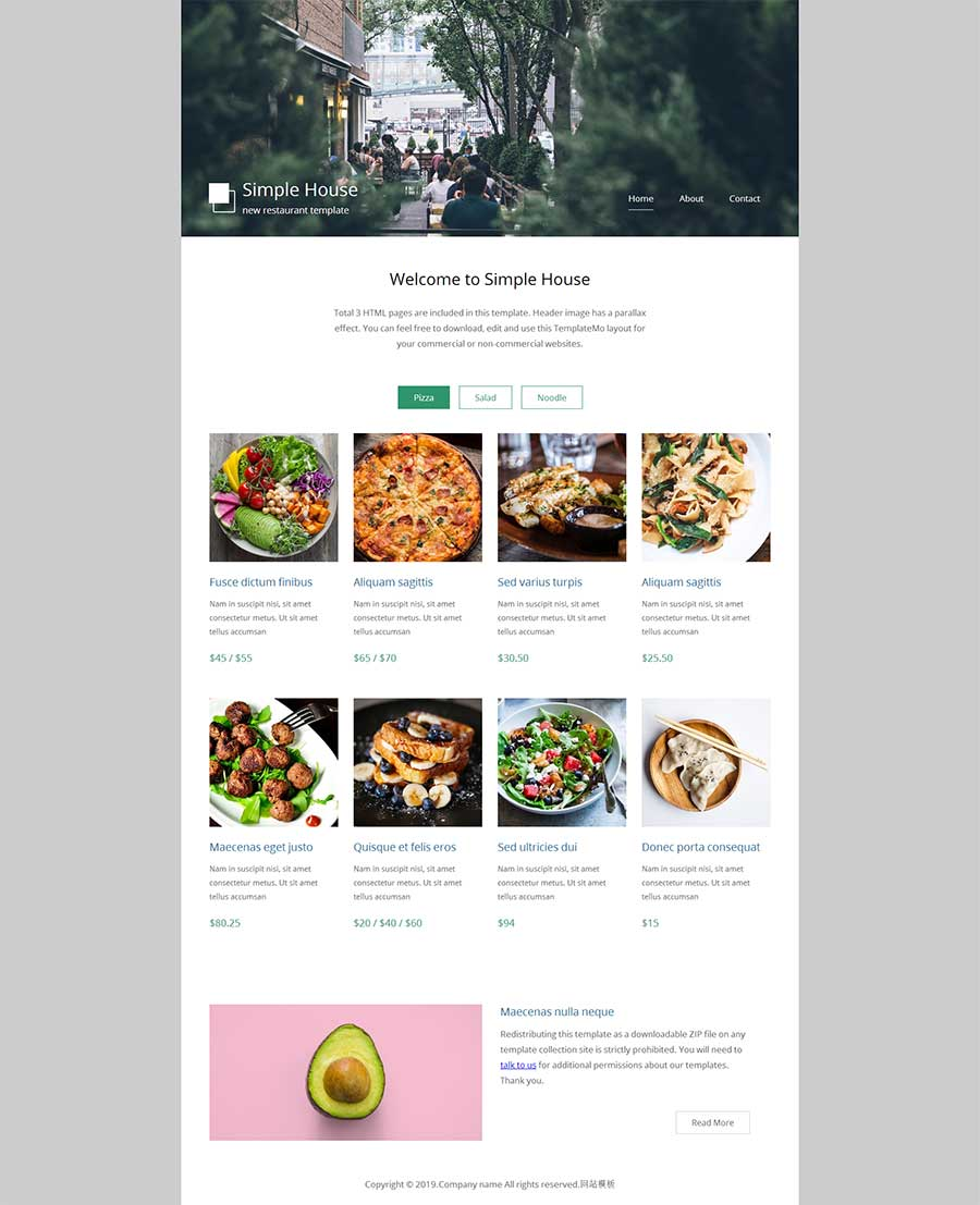 html5简洁响应式美食菜单定价网站模板