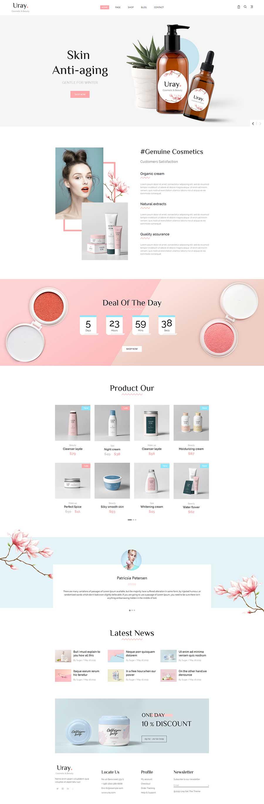 粉色风格Bootstrap响应式美容化妆品商城网站模板