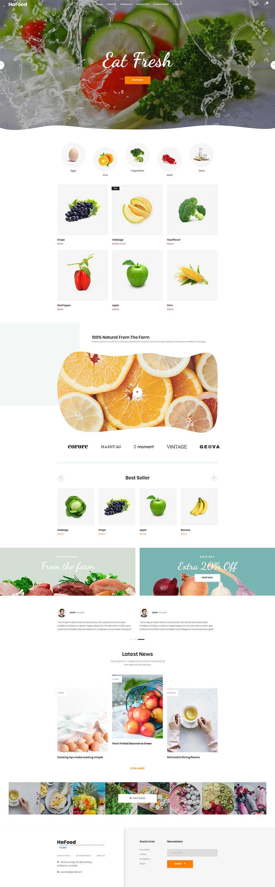 Bootstrap响应式有机蔬菜水果商城网站模板