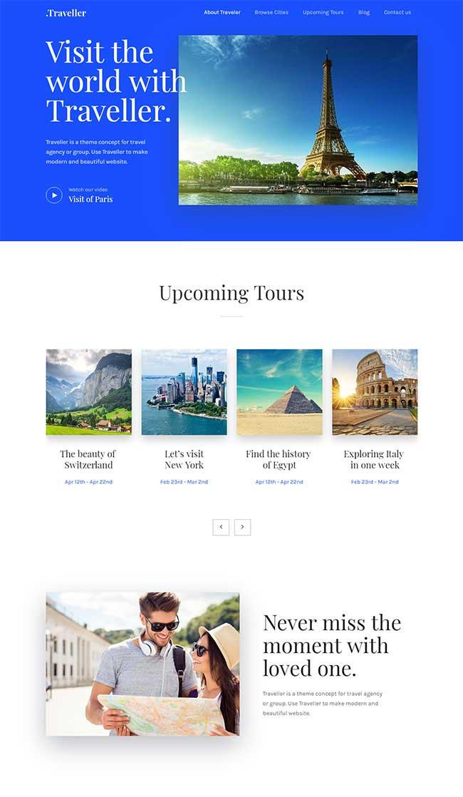 蓝色简洁大气html5响应式旅游专题网页模板